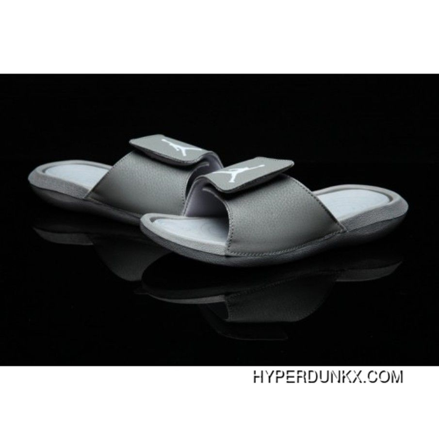 ca247a0b59a7 Mens Air Jordan Hydro 6 VI Cool Grey White Sandals Slippers Slides Discount