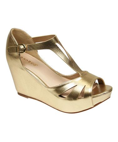5036b5b8919e Love this Gold Cutout Renata Wedge Sandal on  zulily!  zulilyfinds ...