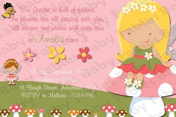 Fairies Birthday Party Invitation DIGITAL DIY By Babyfables 1250