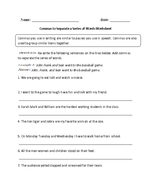 Commas to Separate a Series of Words Worksheet | Englishlinx.com ...
