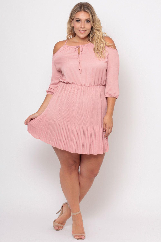 Plus Size Cold Shoulder Alexa Dress- Blush | mamasotas | Pinterest ...