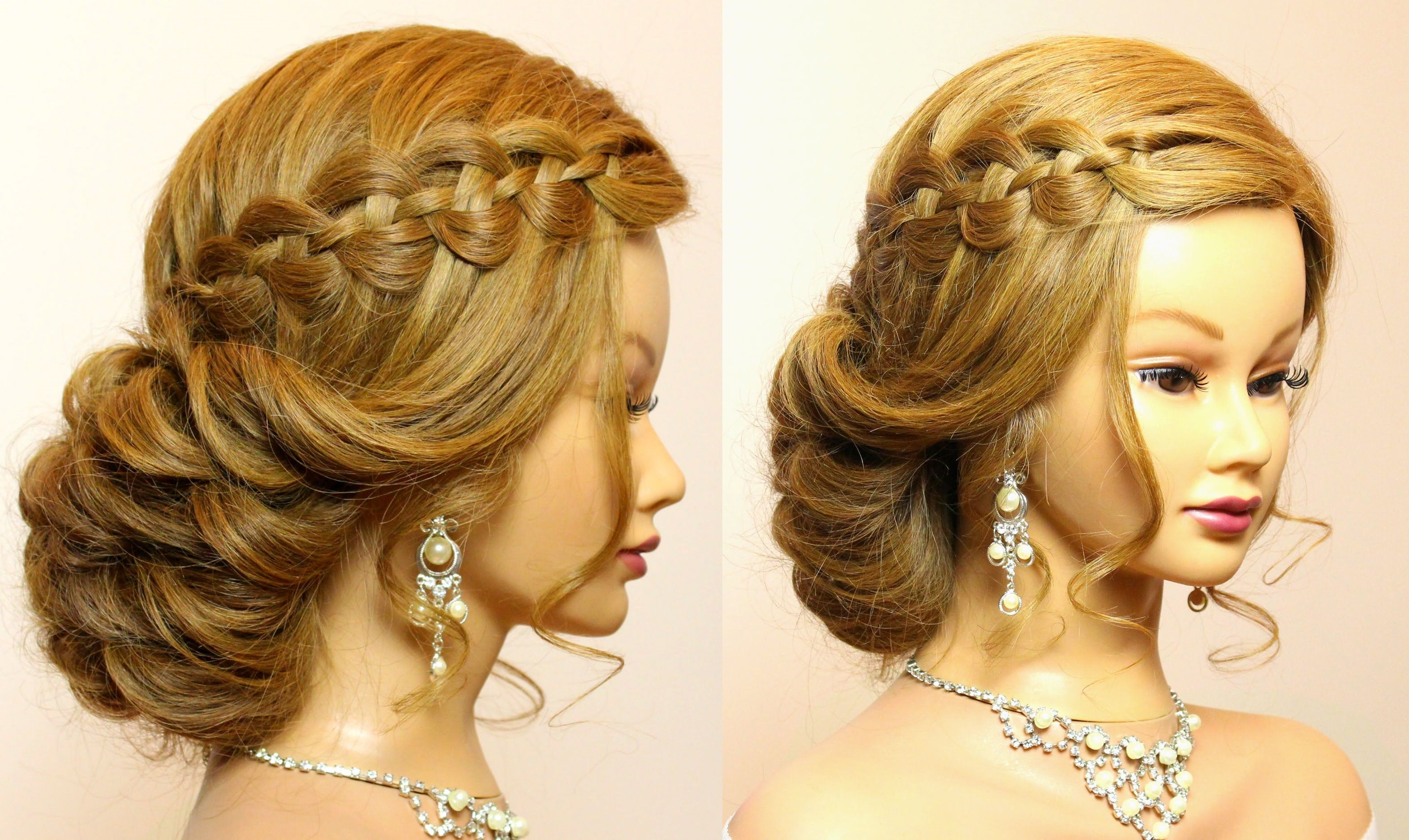 Prom wedding updo Hairstyle for long hair with 4 strand waterfall