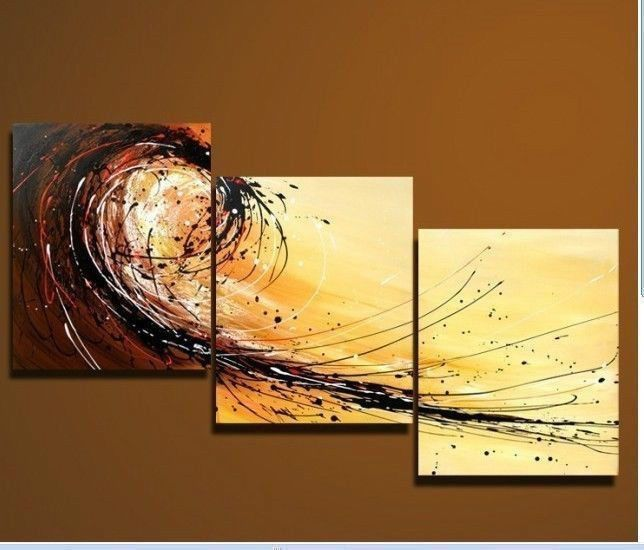 100% handcraft Modern Abstract Huge Canvas Oil Painting Art 3pc(no ...