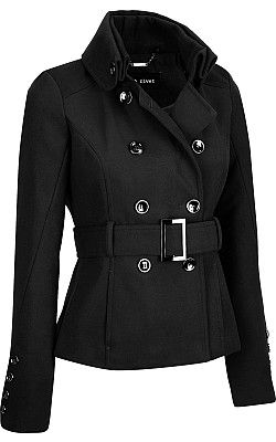 2c010cf24bfc5 Plus Size Black Rivet Short Military Faux-Wool Belted Jacket -   WilsonsLeather  Plus