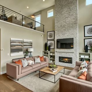 Two story great room with loft overlooking. Full height ...