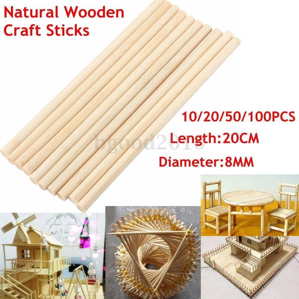 10 20 50 100pcs Wooden Craft Sticks Cake Paddle Pop Lolly Sticks Rods 20cm X 8mm Craft Stick Crafts Bamboo Crafts Wooden Craft Sticks