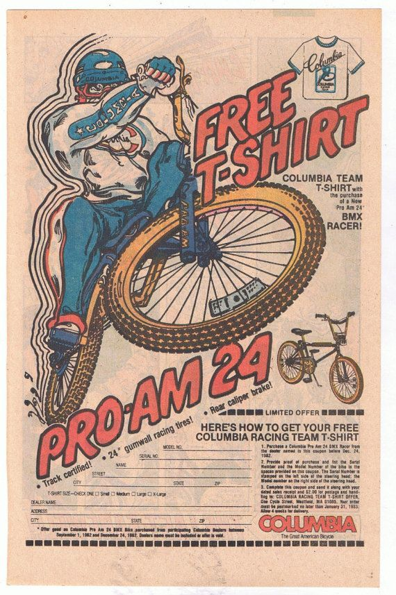 1982 Columbia T-Shirt BMX Racer Pro-Am 24 Order Form Advertisement - vehicle order form