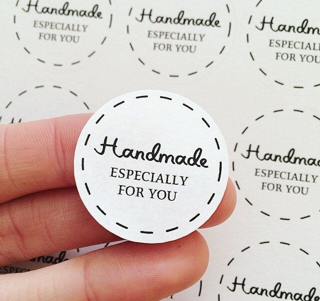 30 handmade especially for you stickers matte sheets white round lines labels packaging by etsyanniscrafts on