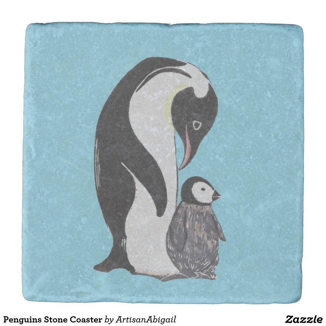 Sold! Thank you to the customers and enjoy! Penguins Stone Coaster; ArtisanAbigail at Zazzle; Abigail Davidson Art