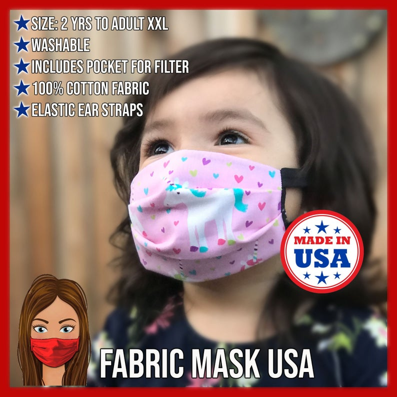 Kids Face Mask Unicorn Face Mask for toddlers & kids made