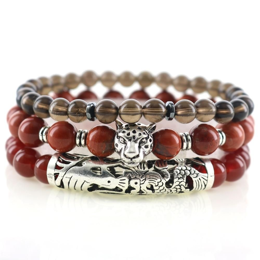 Stylish Jewelry Natural Loose Spacer Stone Bead Silver Lion Head Bangle Bracelet