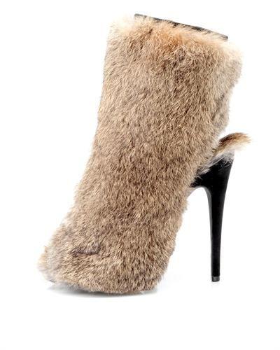 Céline Rabbit Fur Peep-Toe Booties original online buy cheap sale 3lEzaQ