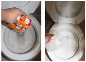 This tutorial gives methods for ridding your toilet bowl of unsightly hard water stains using common household products.: Baking Soda and Vinegar