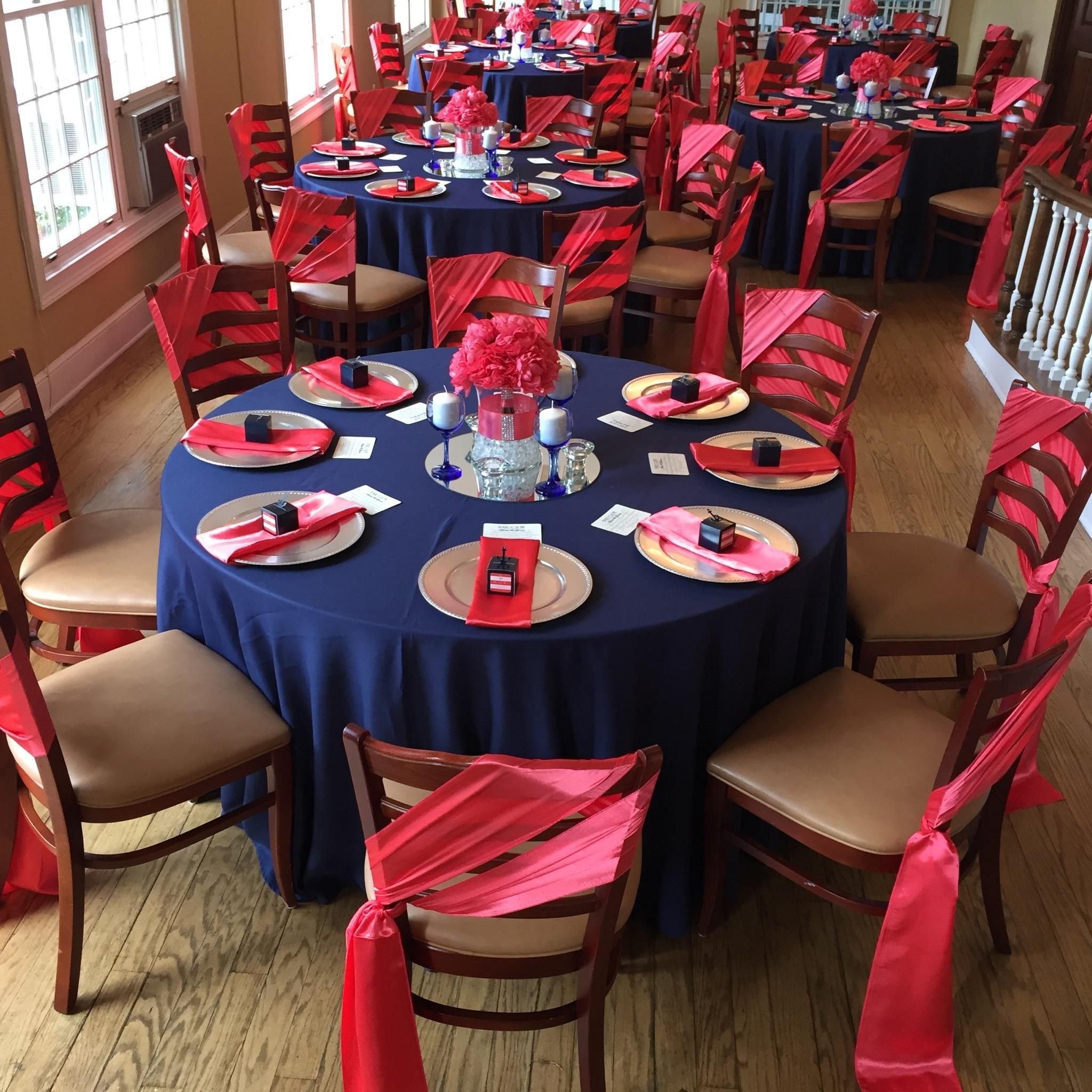 Red Wedding Ideas Reception: Navy Blue And Coral Wedding Reception By Uniquely Arranged