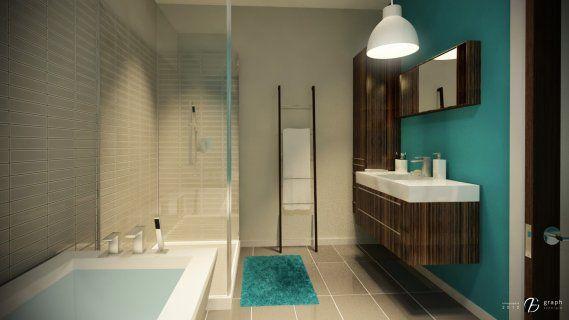 Salle de bain bleu turquoise et noir : La salle de bain du rez-de ...