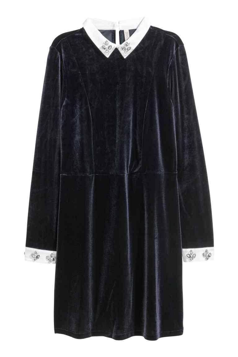Velour Dress with Rhinestones - Dark blue - Ladies | H&M CA