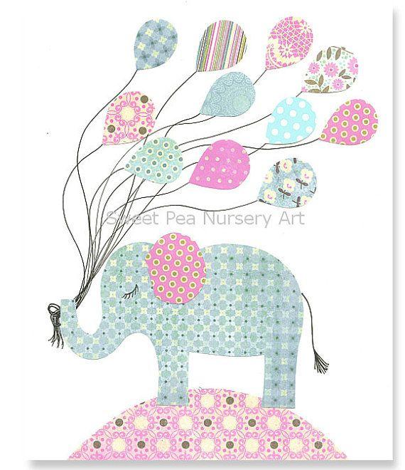 Aqua and Pink Nursery Elephant Nursery by SweetPeaNurseryArt, $15.00