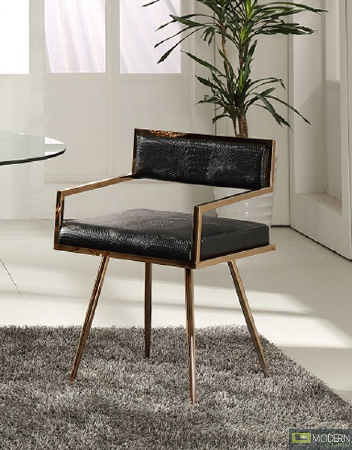 Alejandro modern arm chair in black rose gold in 2020