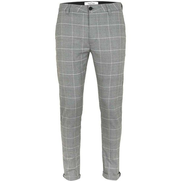 1272827a69 TOPMAN Grey Check Stretch Skinny Chinos (£35) ❤ liked on Polyvore featuring  men's
