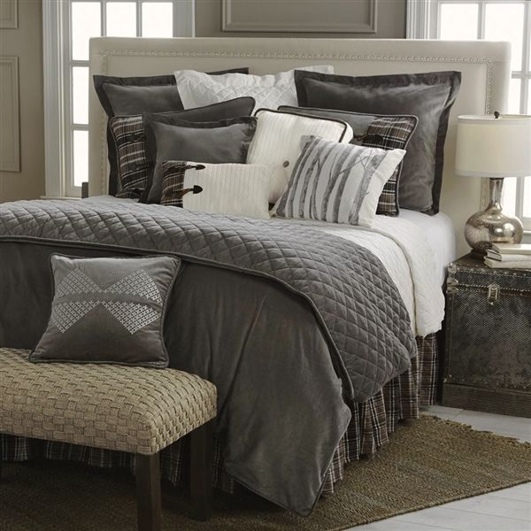 Whistler Comforter Set by HiEnd Accents| Gray Bedding | Grey