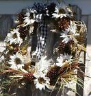 Photo of Autumn Fall Wreath: White Sunflower Wreath on 24″GrapevineBase BuffaloPlaidBow #…