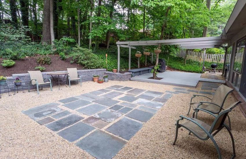 Slate And Gravel Patio