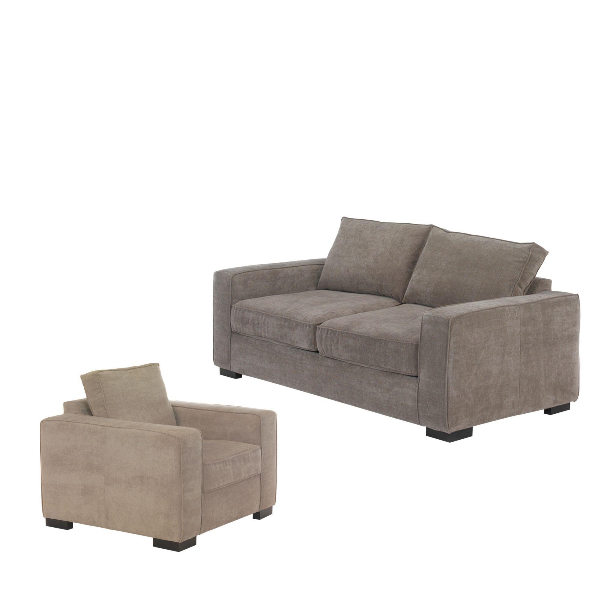 Canapé 3 places convertible café au lait avec fauteuil Café au