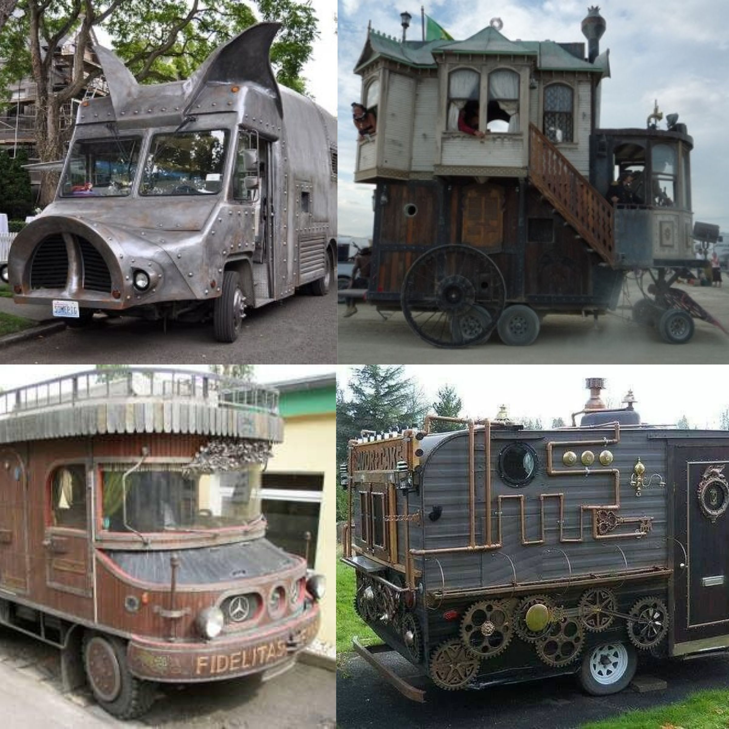 Steampunk RV camper anyone? Would be fun to see someone drive into a campground with one of these!! lol