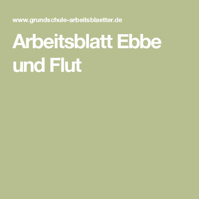 Arbeitsblatt Ebbe und Flut | Pinterest