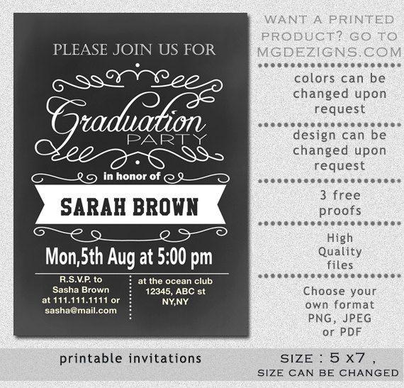 Printable Vintage Chalkboard Elegant Script Typography Graduation