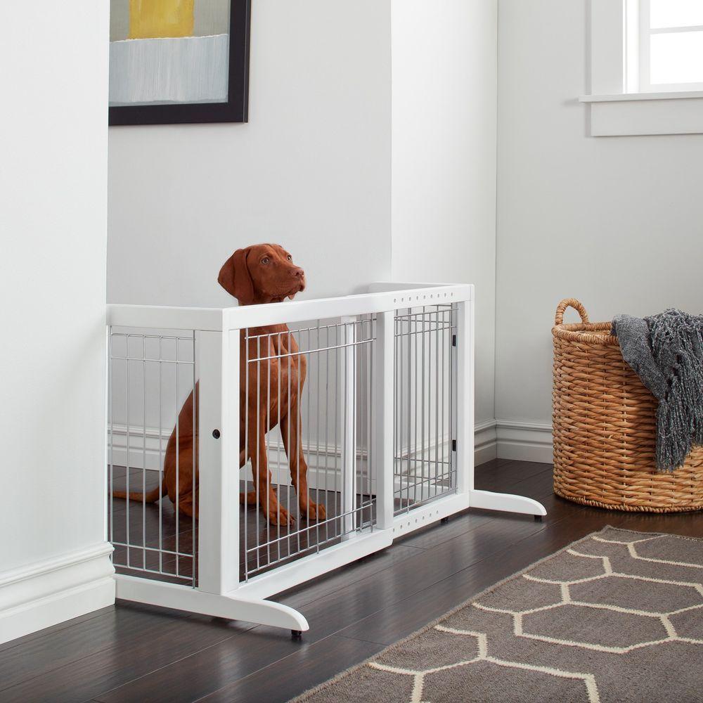 Freestanding Wood Adjustable Pet Gate White Weatherproof Metal Plastic  Large #Richell