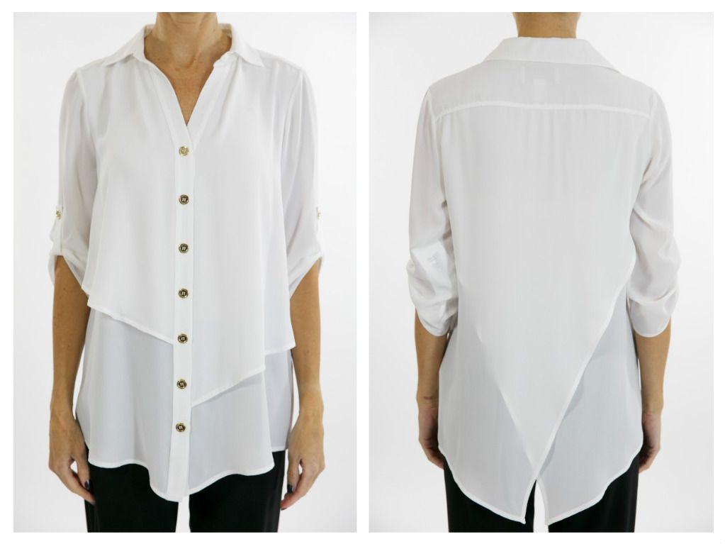 Conoce este hermoso diseño blanco que combina con con faldas y pantalones, su forma asimétrica  la hace perfecta para varias combinaciones, Joseph Ribkoff lo sabe y por eso ha creado este modelo maravilloso.
