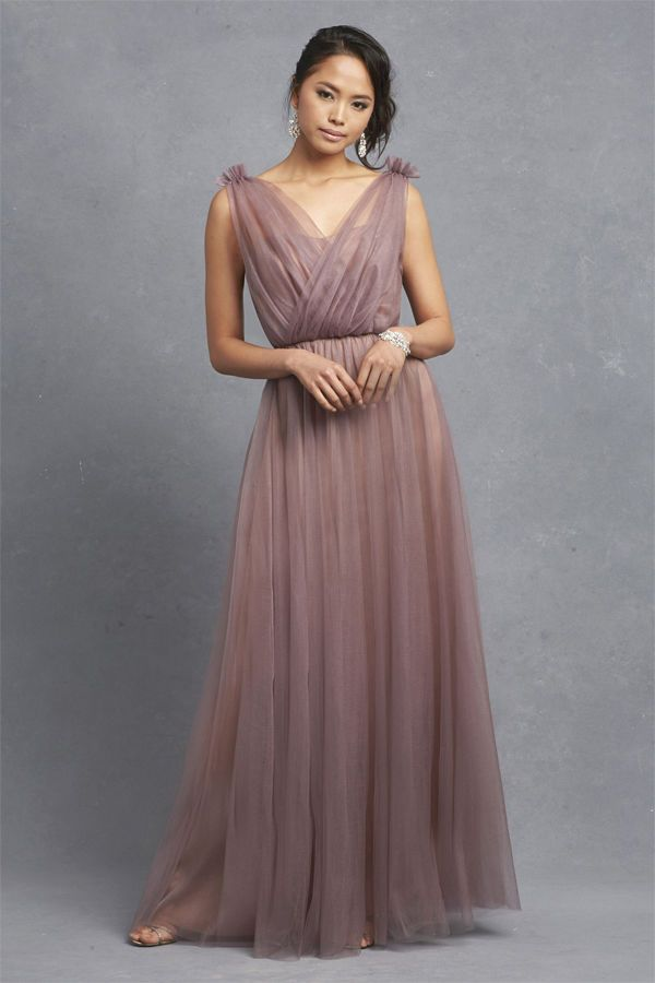 For The Perfect Mix Of Modern And Vintage Wedding Style Go A Mauve Bridesmaid Dress With An Illusion Neckline To Create Timeless Look