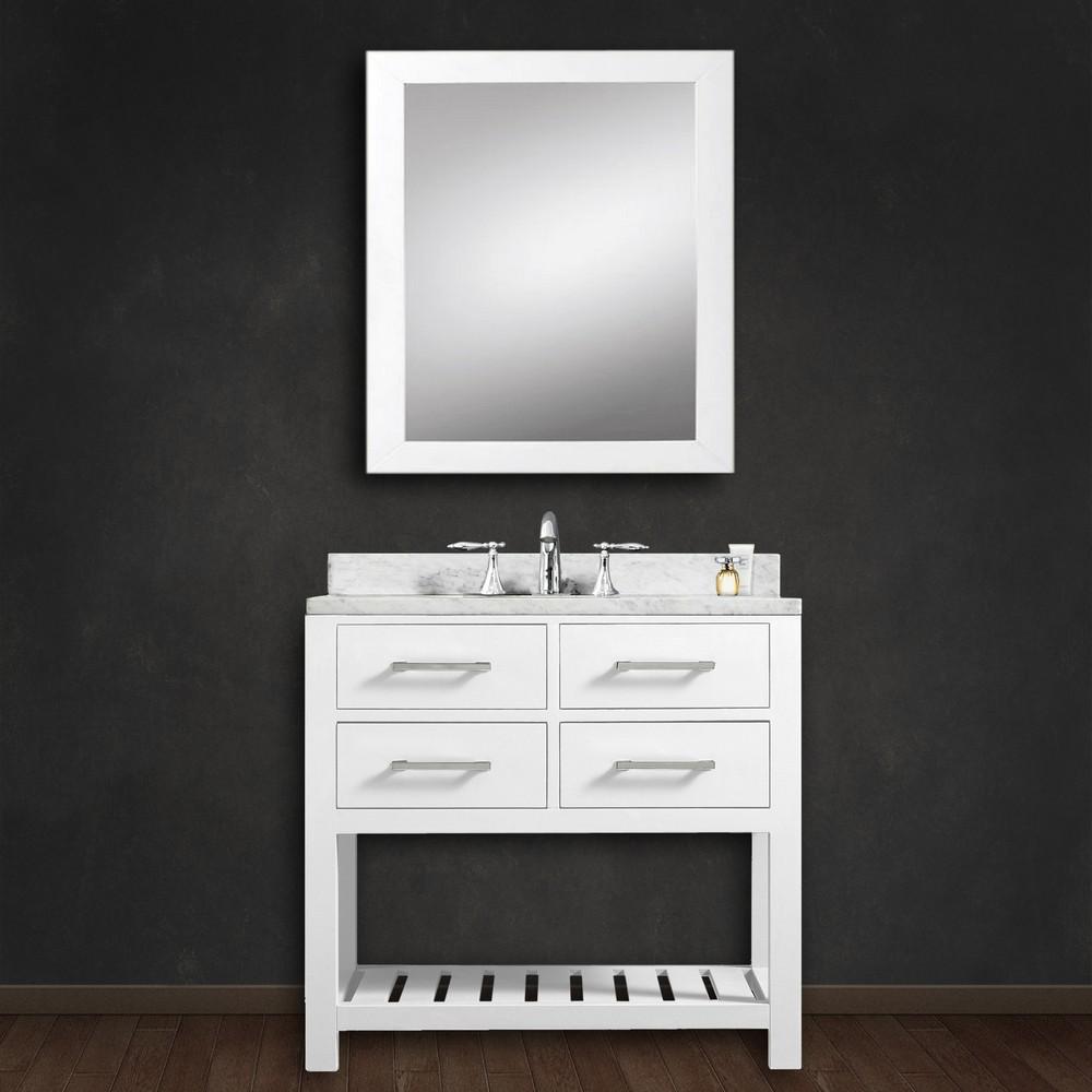Cadale 30 inch White Finish Single Sink Bathroom Vanity in