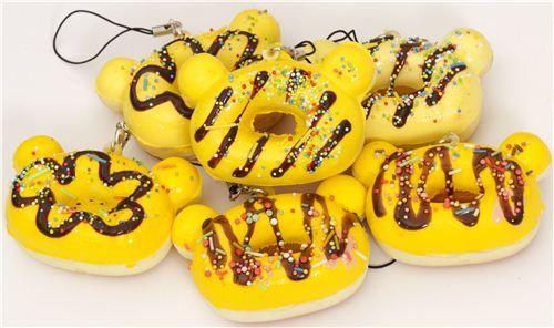 yellow Rilakkuma bear head donut squishy charm 1