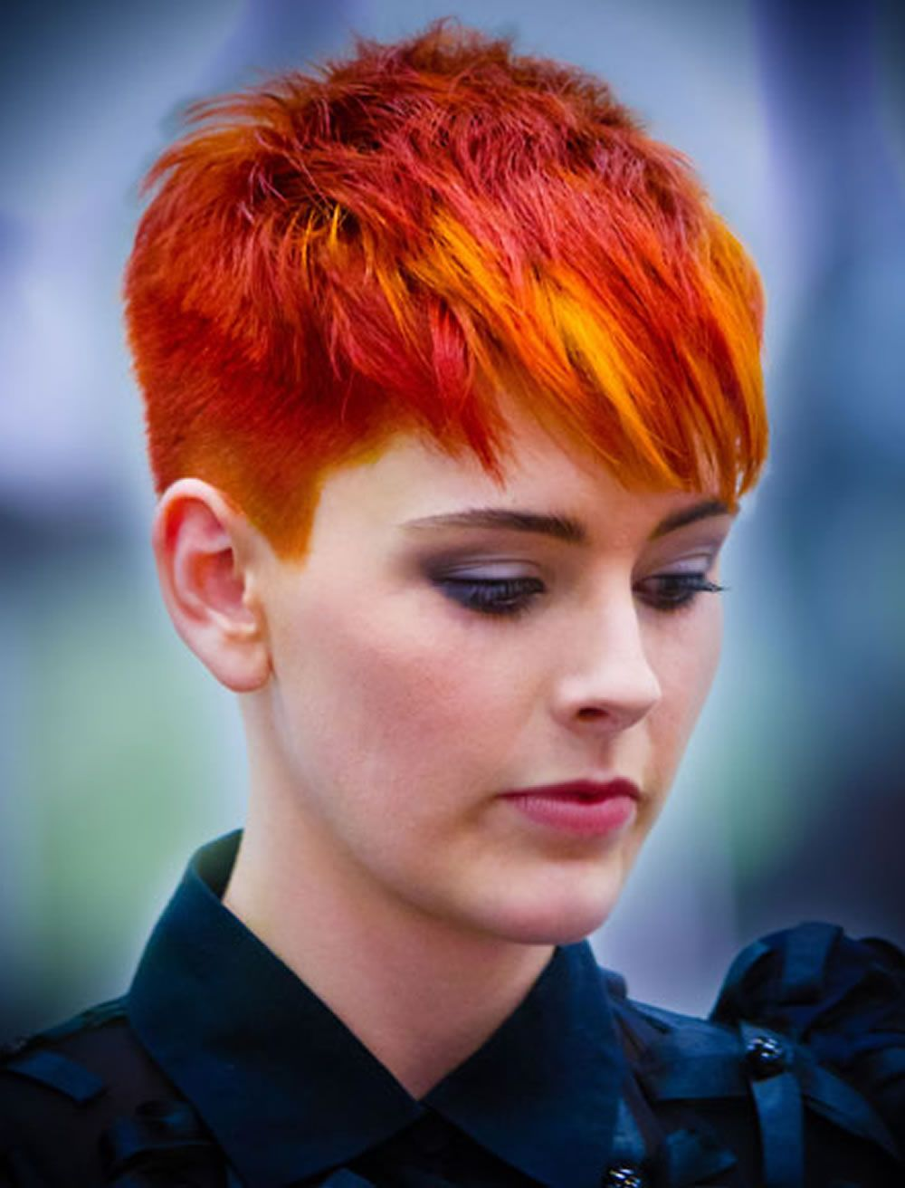 Red hair color for short hairstyles cool haircut pixie