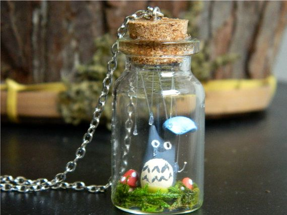 Tiny Totoro in the Rain Terrarium Necklace by ButtercupBrickley, $20.00