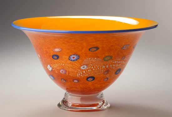 Daffodil Blossom Bowl: Ingrid Hanson and Ken Hanson: Art Glass Bowl - Artful Home