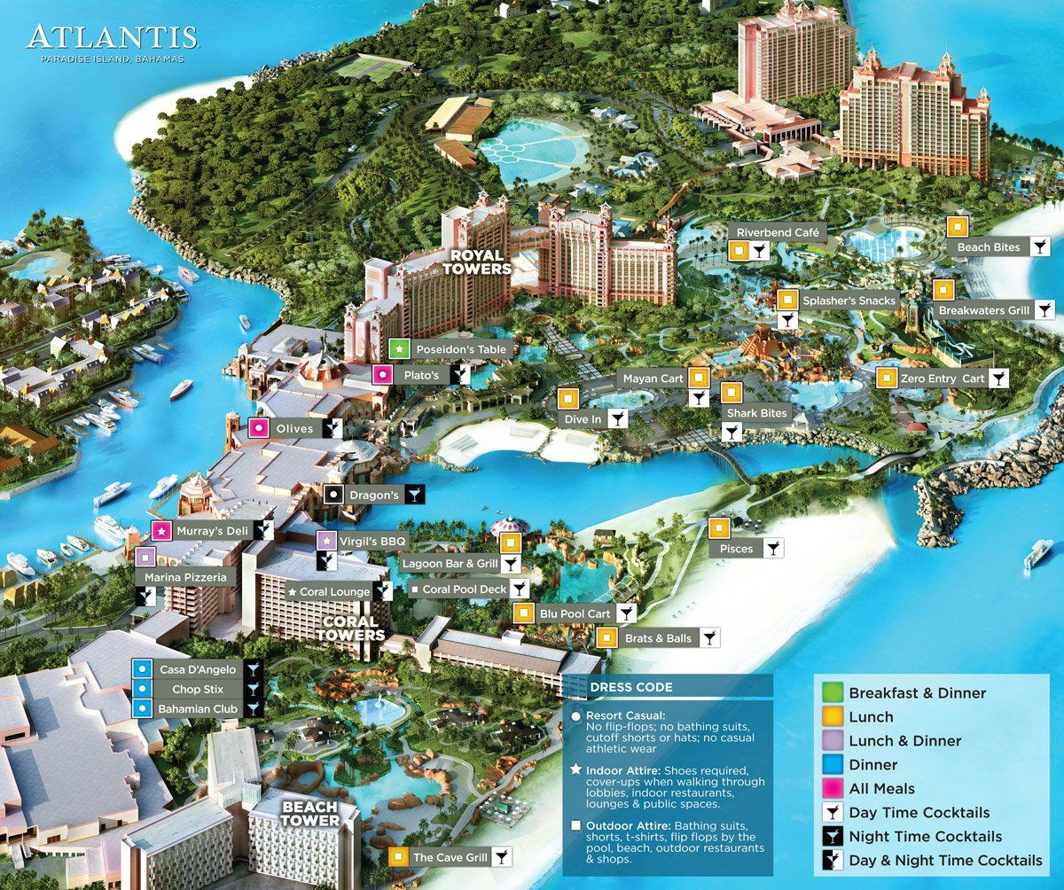 Map Of Atlantis Paradise Island Inclusive Package