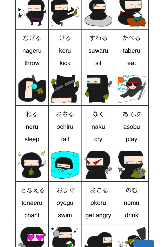Japanese verb chart http://hiragananinja.tk/wp2/ninjaverb/ あそぶ asobu なく naku たべる taberu のむ nomu : #nihongo #japanese #hiragana