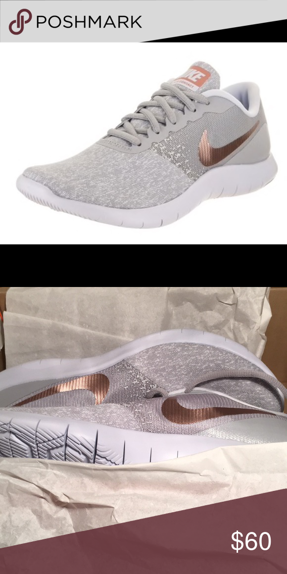 3375d82e65d Nike Flex Contact Gray and Rose Gold Size 11 Breathable mesh upper. Lace up  entry and knitted construction for a close