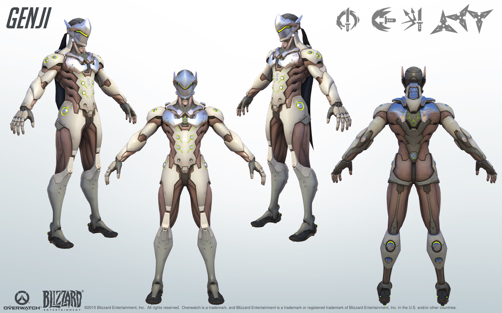 Genji from Overwatch. A close look at the model structure from all angles; a great reference for cosplay. Genjiand Overwatch belongs to Blizzard