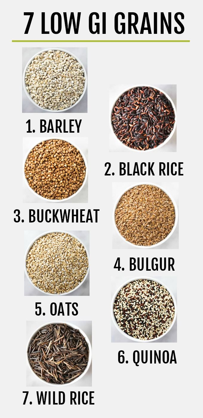 A list of healthy low glycemic whole grains such as barley, black rice, bulgur, buckwheat, oats, quinoa, and wild rice. These grains are healthy and delicious. They are perfect for salads, soups, and side dishes, and can also be served for breakfast. Here you will find a brief description of each whole grain, GI and GL values, general nutrition information, and some recipe ideas. #grains #wholegrains #healthy #plantbased