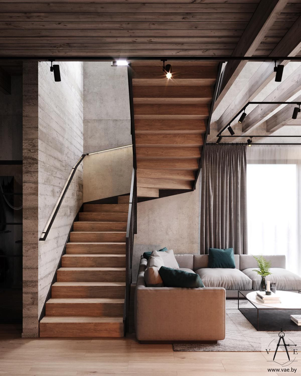 Warm Industrial Style House With Layout Modern Loft Industrial Home Design Modern Staircase