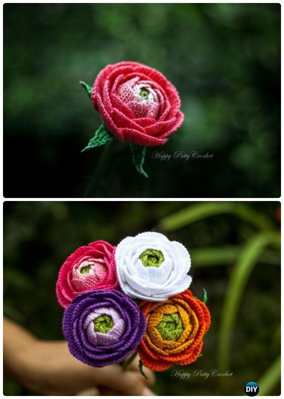 Crochet Rose Flower Bouquet Free Pattern- #Crochet 3D Flower Bouquet ...