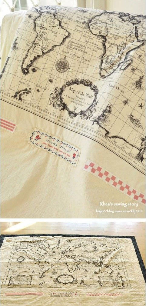 cotton linen fabric map of the world handmade on show by cloth2u 900