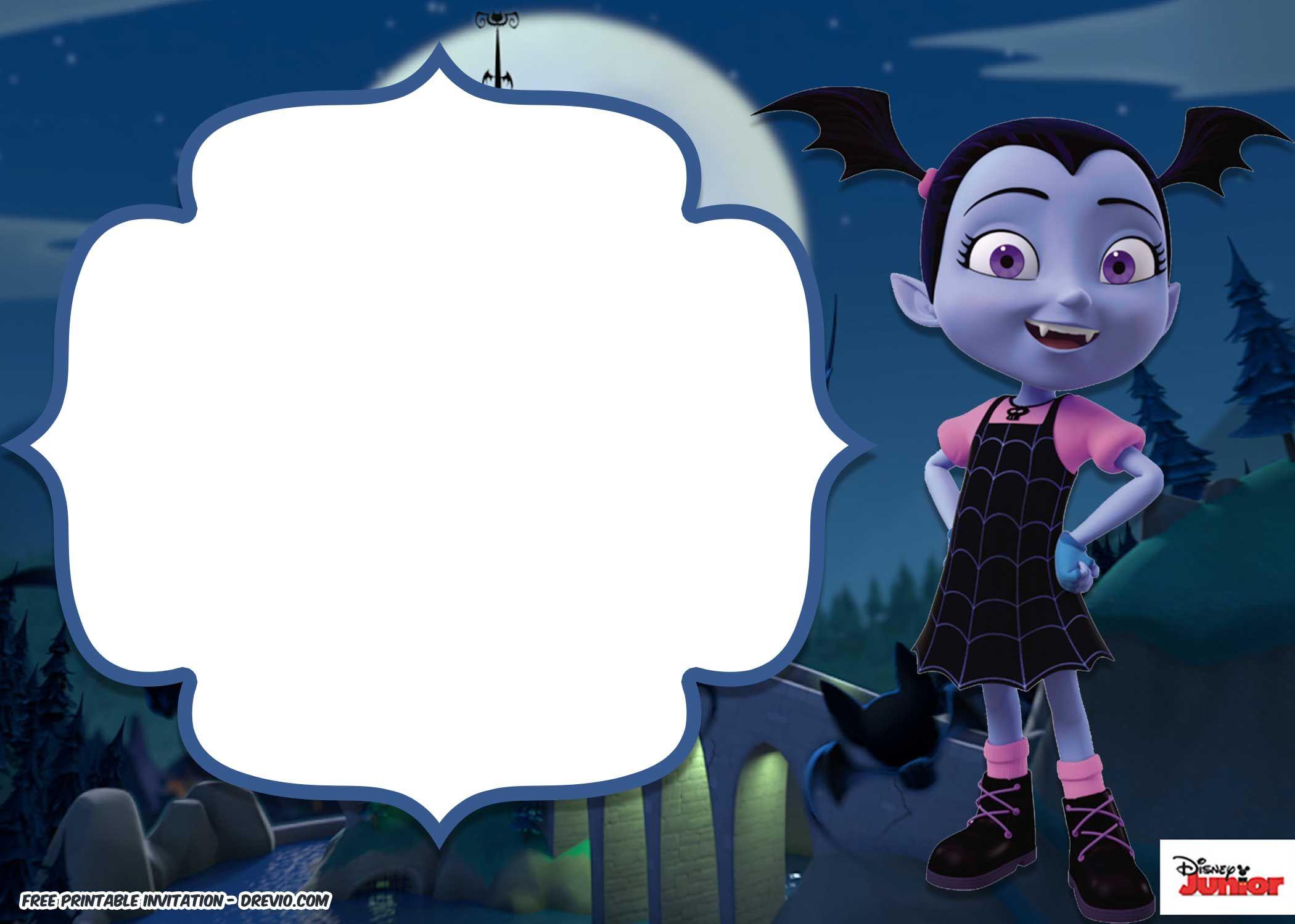 Disney Vampirina Birthday Invitation Template  Printable birthday