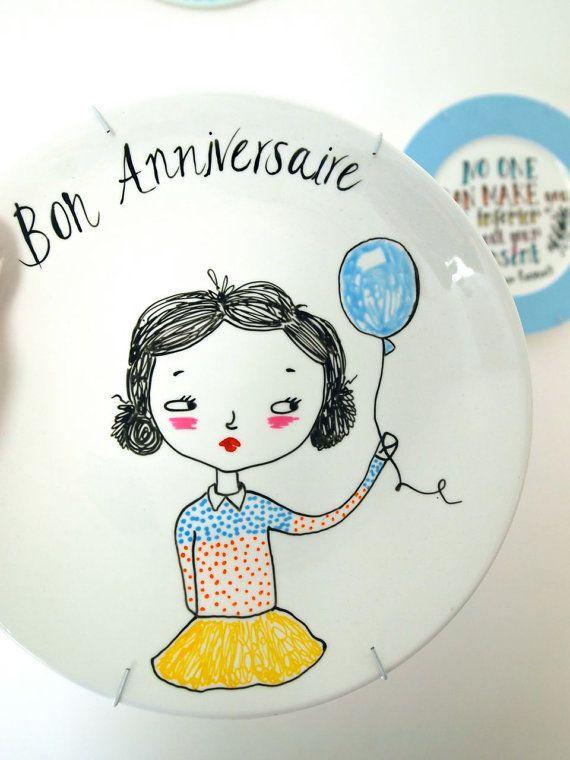 sc 1 st  Pinterest & Hand painted decorative plate Bon Anniversaire Happy Birthday