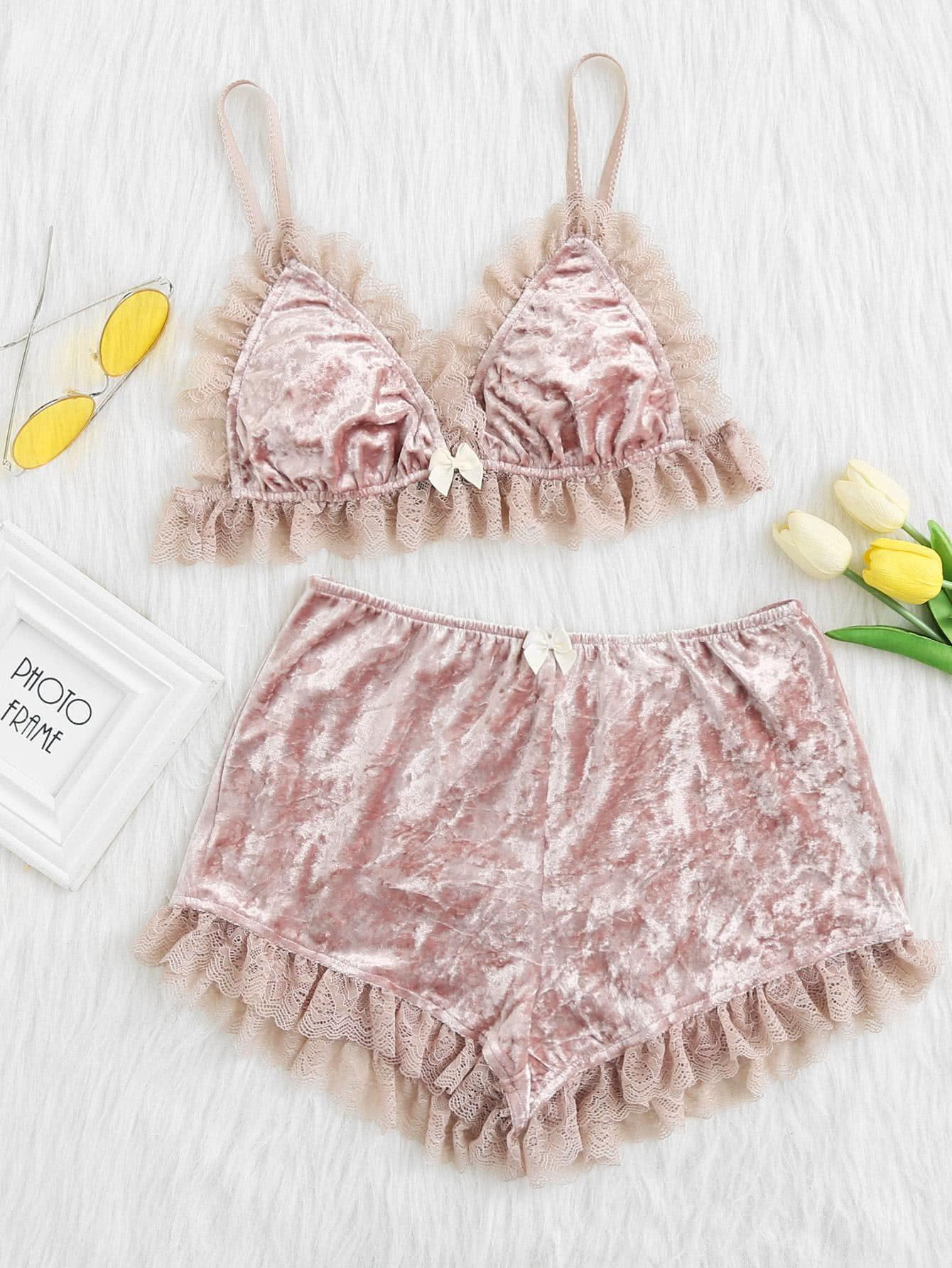 ee7286d73c #SheIn - #SheIn Lace Trim Crushed Velvet Bralette & Shorts Pj Set -