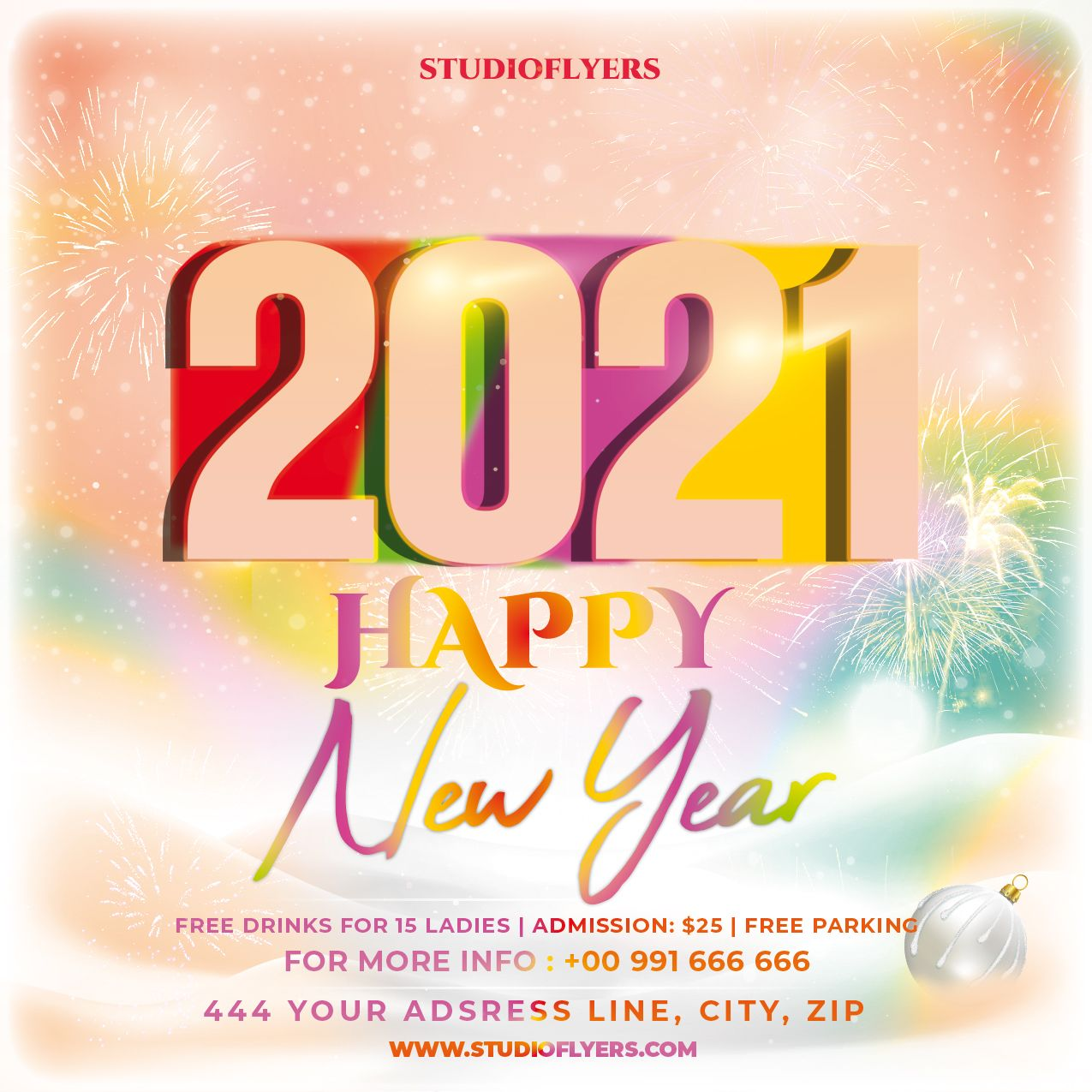 New Year 2021 Flyer Free Psd Template Studioflyers Com Free Psd Flyer Templates Psd Template Free Psd Flyer Templates